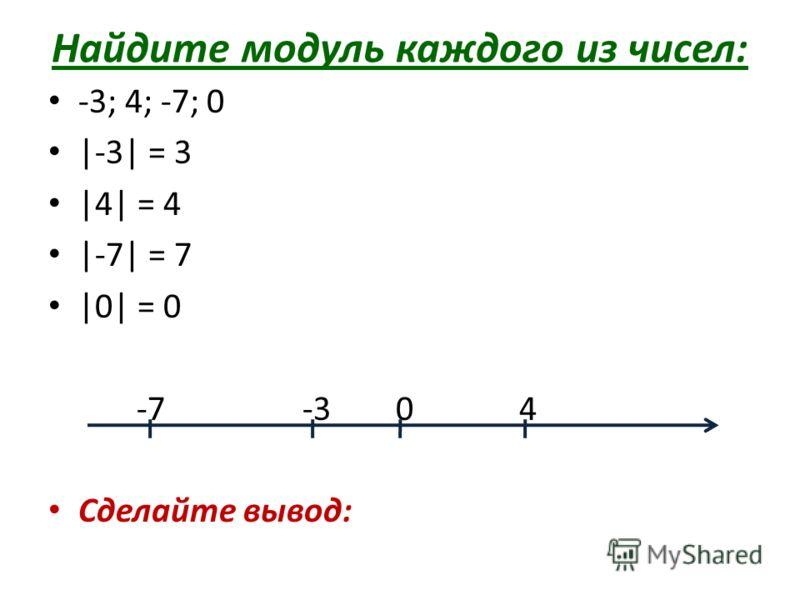 Найдите модуль каждого из чисел: -3; 4; -7; 0 |-3| = 3 |4| = 4 |-7| = 7 |0| = 0 -7 -3 0 4 Сделайте вывод: