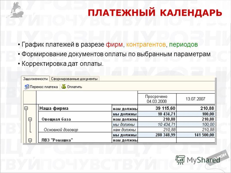 ПЛАТЕЖНЫЙ КАЛЕНДАРЬ График платежей в разрезе фирм, контрагентов, периодов Формирование документов оплаты по выбранным параметрам Корректировка дат оплаты.