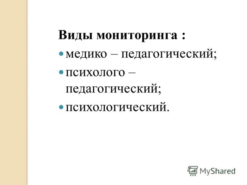 Виды мониторинга : медико – педагогический; психолого – педагогический; психологический.