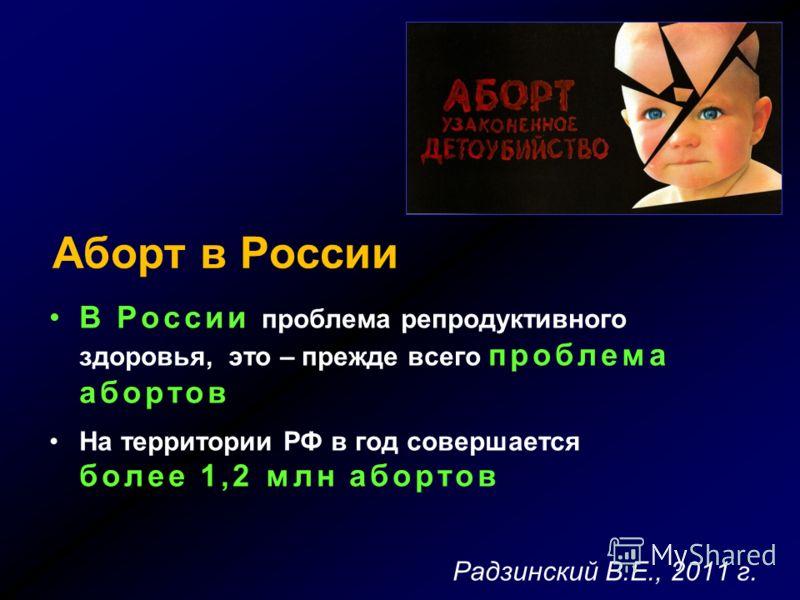Аборт в России В России проблема репродуктивного здоровья, это – прежде всего проблема абортов На территории РФ в год совершается более 1,2 млн абортов Радзинский В.Е., 2011 г.