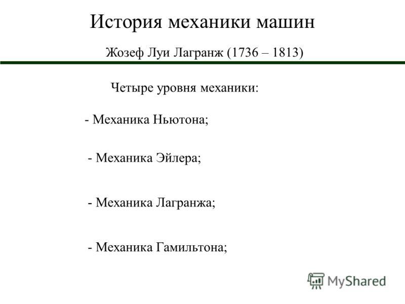 История механики машин Жозеф Луи Лагранж (1736 – 1813) Четыре уровня механики: - Механика Ньютона; - Механика Эйлера; - Механика Лагранжа; - Механика Гамильтона;