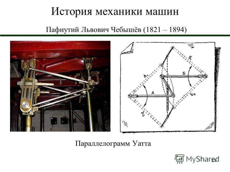 24 История механики машин Пафнутий Львович Чебышёв (1821 – 1894) Параллелограмм Уатта