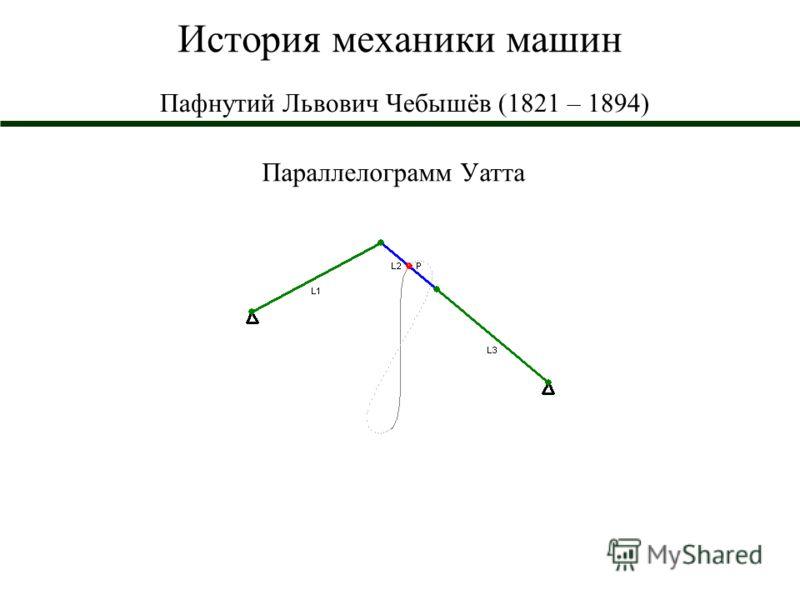 История механики машин Пафнутий Львович Чебышёв (1821 – 1894) Параллелограмм Уатта