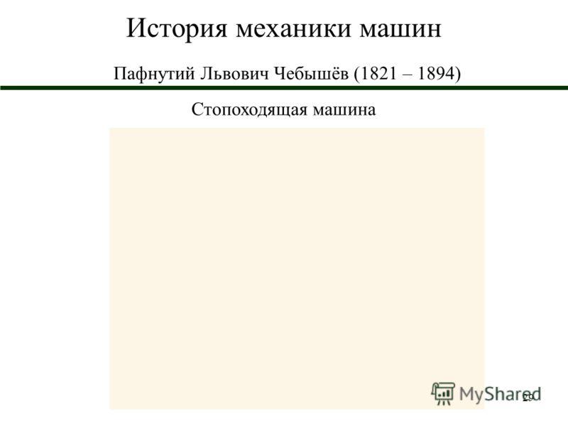 29 История механики машин Пафнутий Львович Чебышёв (1821 – 1894) Стопоходящая машина