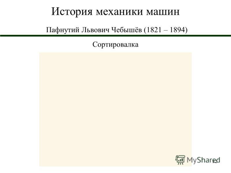 32 История механики машин Пафнутий Львович Чебышёв (1821 – 1894) Сортировалка