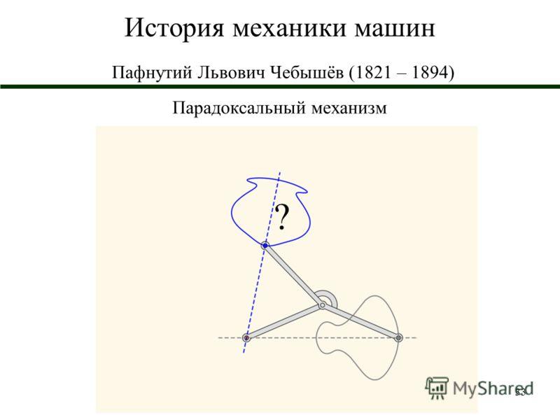 33 История механики машин Пафнутий Львович Чебышёв (1821 – 1894) Парадоксальный механизм ?
