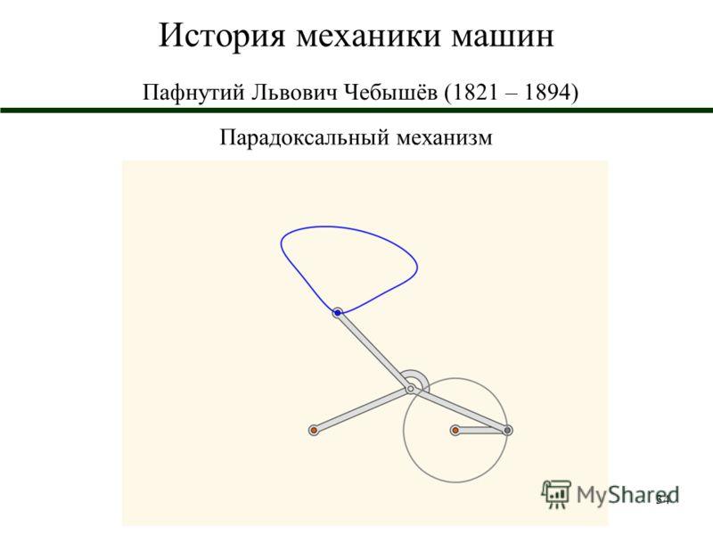 34 История механики машин Пафнутий Львович Чебышёв (1821 – 1894) Парадоксальный механизм