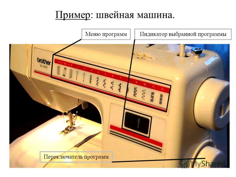 Пример: швейная машина. Меню программИндикатор выбранной программы Переключатель программ