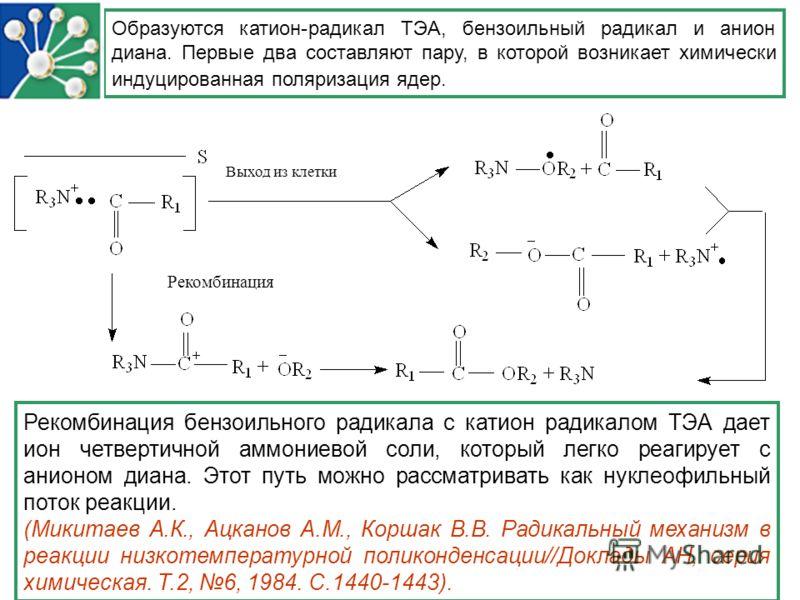Образуются катион-радикал ТЭА, бензоильный радикал и анион диана. Первые два составляют пару, в которой возникает химически индуцированная поляризация ядер. Выход из клетки Рекомбинация Рекомбинация бензоильного радикала с катион радикалом ТЭА дает и