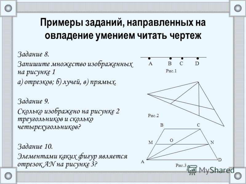 Примеры заданий, направленных на овладение умением читать чертеж Задание 8. Запишите множество изображенных на рисунке 1 а) отрезков; б) лучей, в) прямых. Задание 9. Сколько изображено на рисунке 2 треугольников и сколько четырехугольников? Задание 1