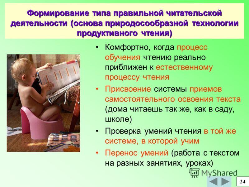 Формирование типа правильной читательской деятельности (основа природосообразной технологии продуктивного чтения) Комфортно, когда процесс обучения чтению реально приближен к естественному процессу чтения Присвоение системы приемов самостоятельного о