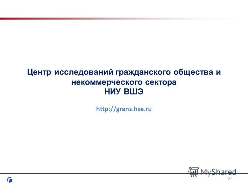 Центр исследований гражданского общества и некоммерческого сектора НИУ ВШЭ http://grans.hse.ru 37