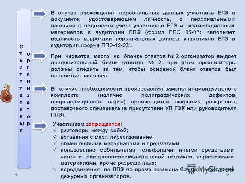 В случае расхождения персональных данных участника ЕГЭ в документе, удостоверяющем личность, с персональными данными в ведомости учета участников ЕГЭ и экзаменационных материалов в аудитории ППЭ (форма ППЭ 05-02), заполняет ведомость коррекции персон