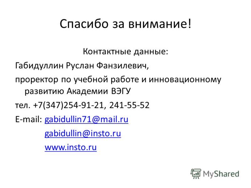 Спасибо за внимание! Контактные данные: Габидуллин Руслан Фанзилевич, проректор по учебной работе и инновационному развитию Академии ВЭГУ тел. +7(347)254-91-21, 241-55-52 E-mail: gabidullin71@mail.rugabidullin71@mail.ru gabidullin@insto.ru www.insto.