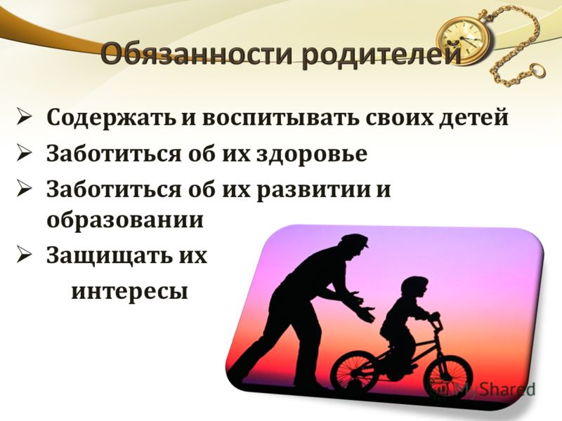 Содержать и воспитывать своих детей Заботиться об их здоровье Заботиться об их развитии и образовании Защищать их интересы
