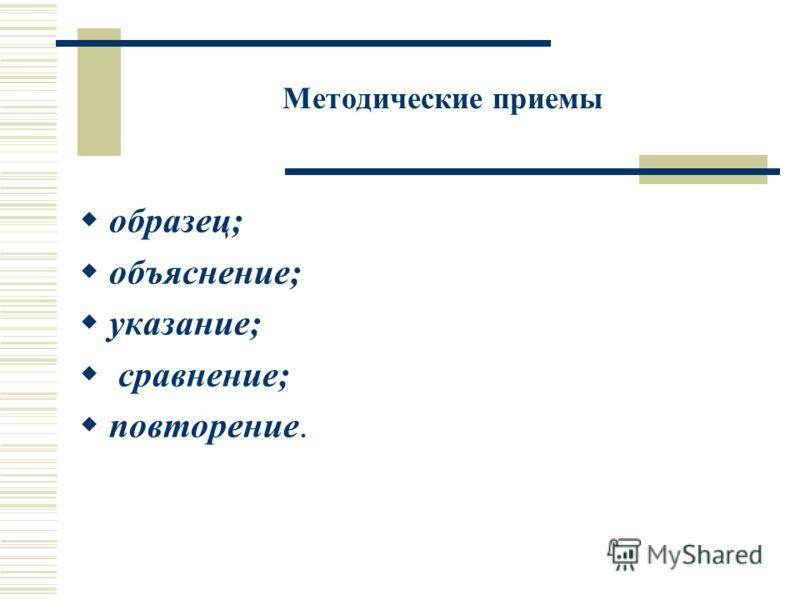 Методические приемы образец; объяснение; указание; сравнение; повторение.