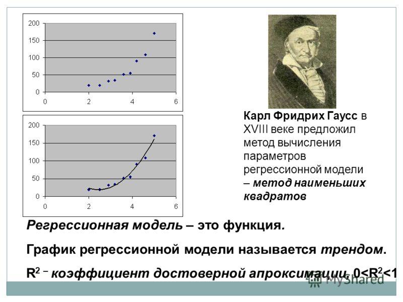 Регрессионная модель – это функция. График регрессионной модели называется трендом. R 2 – коэффициент достоверной апроксимации, 0