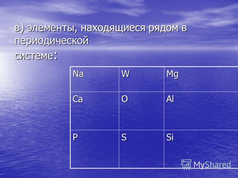 в) элементы, находящиеся рядом в периодической системе : NaWMg CaOAl PSSi