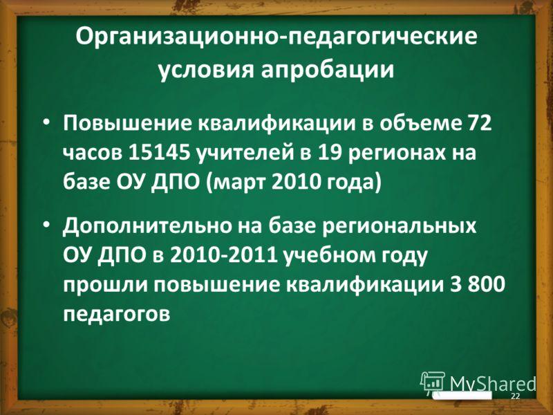 Повышение квалификации в объеме 72 часов 15145 учителей в 19 регионах на базе ОУ ДПО (март 2010 года) Дополнительно на базе региональных ОУ ДПО в 2010-2011 учебном году прошли повышение квалификации 3 800 педагогов 22