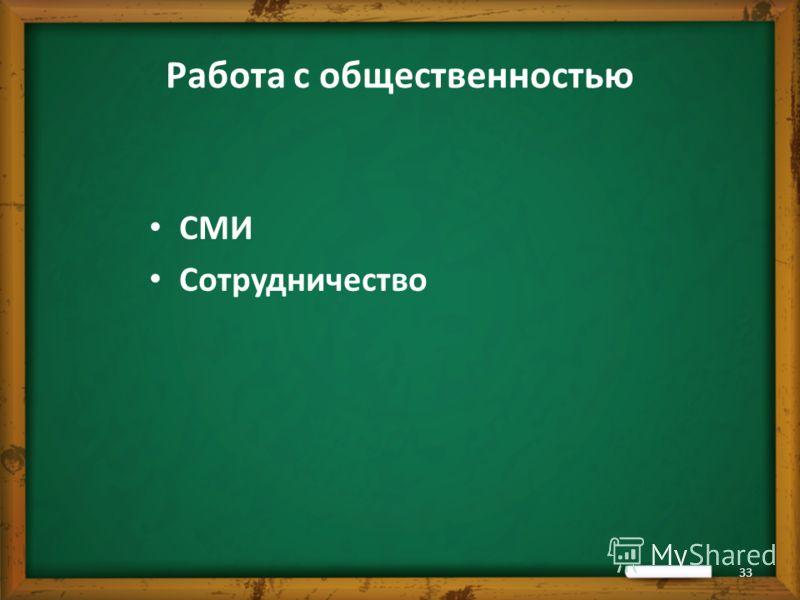 Работа с общественностью СМИ Сотрудничество 33