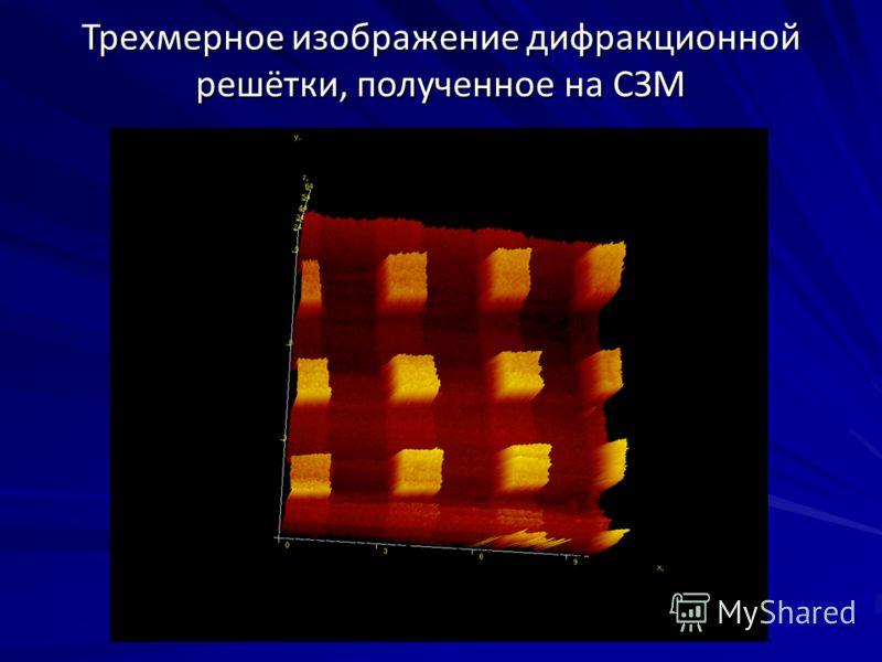 Трехмерное изображение дифракционной решётки, полученное на СЗМ