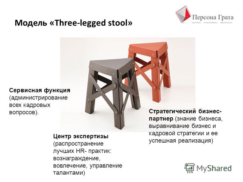 Модель «Three-legged stool» Сервисная функция (администрирование всех кадровых вопросов). Центр экспертизы (распространение лучших HR- практик: вознаграждение, вовлечение, управление талантами) Стратегический бизнес- партнер (знание бизнеса, выравнив