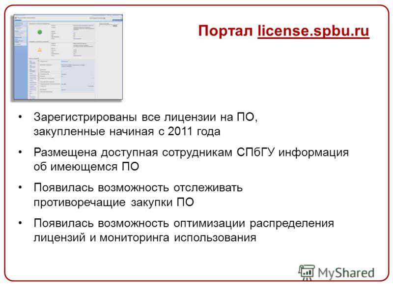 Портал license.spbu.ru Зарегистрированы все лицензии на ПО, закупленные начиная с 2011 года Размещена доступная сотрудникам СПбГУ информация об имеющемся ПО Появилась возможность отслеживать противоречащие закупки ПО Появилась возможность оптимизации