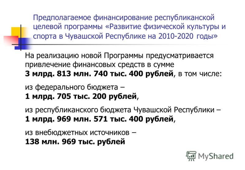 Предполагаемое финансирование республиканской целевой программы «Развитие физической культуры и спорта в Чувашской Республике на 2010-2020 годы » На реализацию новой Программы предусматривается привлечение финансовых средств в сумме 3 млрд. 813 млн.