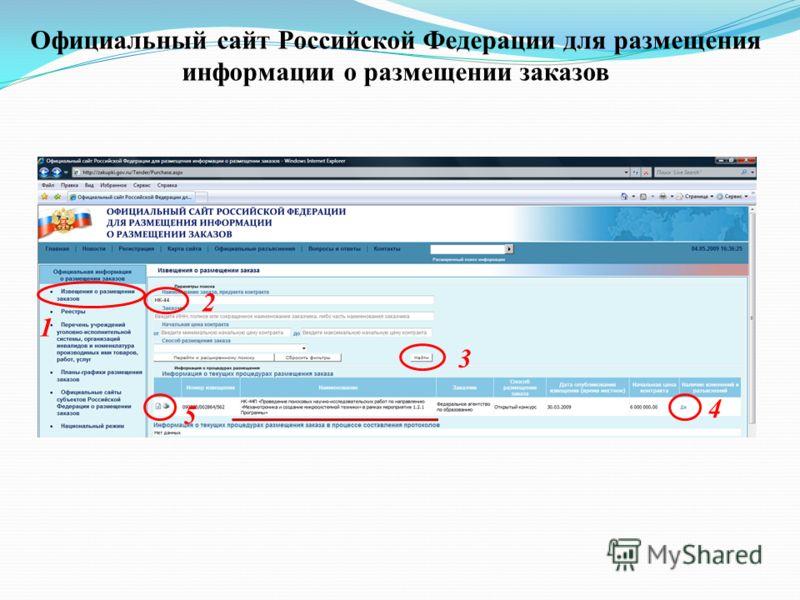 Официальный сайт Российской Федерации для размещения информации о размещении заказов 1 4 5 3 2