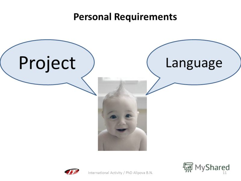 International Activity / PhD Alipova B.N.11 Personal Requirements Language Project