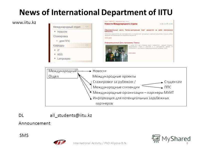International Activity / PhD Alipova B.N.8 News of International Department of IITU www.iitu.kz DL all_students@iitu.kz Announcement SMS
