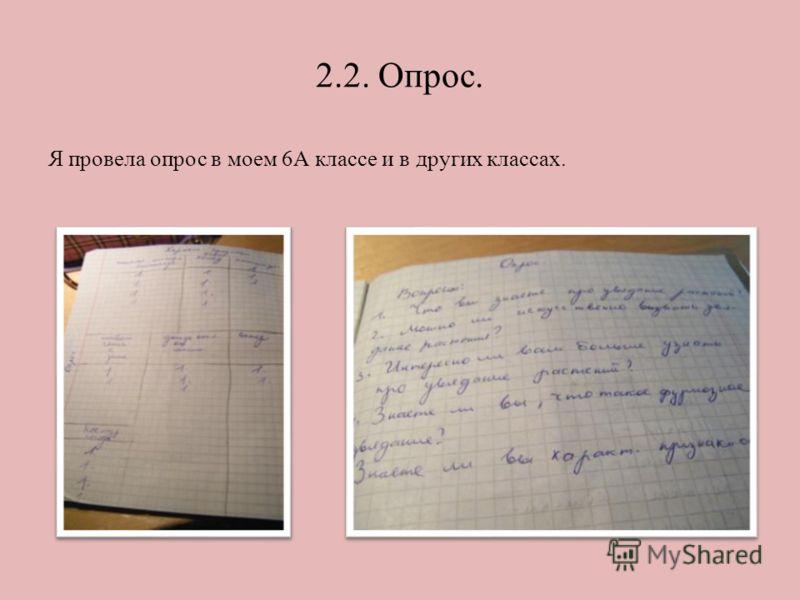 2.2. Опрос. Я провела опрос в моем 6А классе и в других классах.