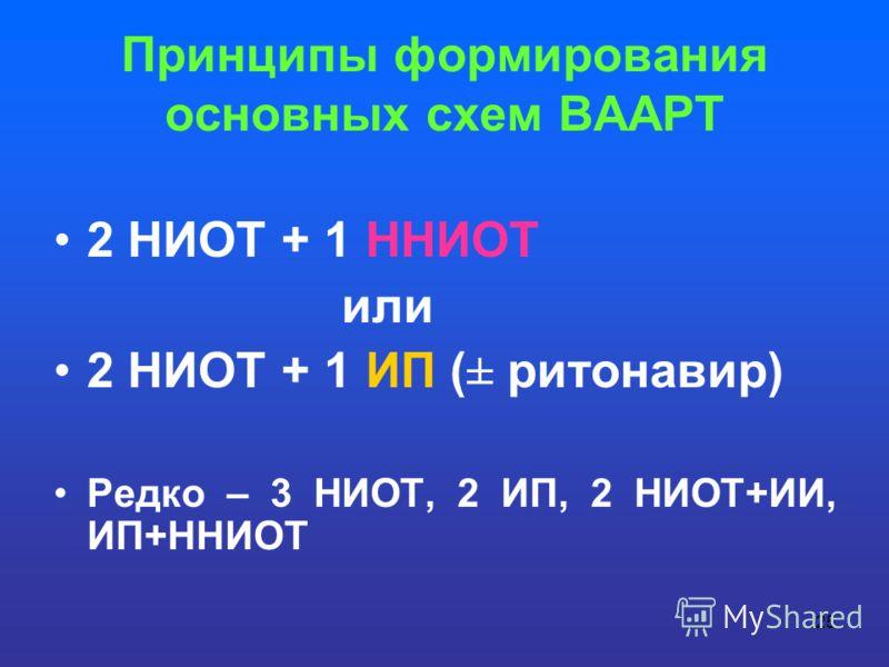 25 Принципы формирования основных схем ВААРТ 2 НИОТ + 1 ННИОТ или 2 НИОТ + 1 ИП (± ритонавир) Редко – 3 НИОТ, 2 ИП, 2 НИОТ+ИИ, ИП+ННИОТ