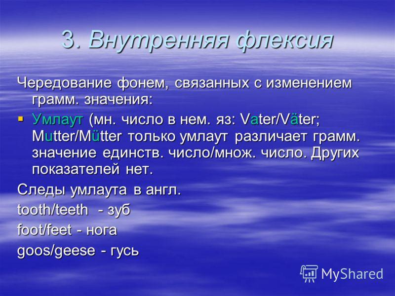 3. Внутренняя флексия Чередование фонем, связанных с изменением грамм. значения: Умлаут (мн. число в нем. яз: Vater/Väter; Mutter/Mütter только умлаут различает грамм. значение единств. число/множ. число. Других показателей нет. Умлаут (мн. число в н