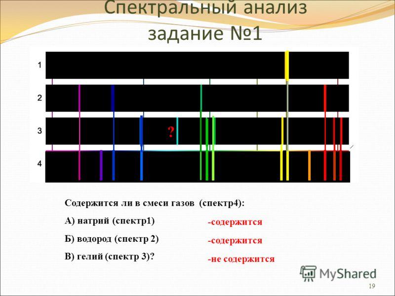 19 Спектральный анализ задание 1 ? Содержится ли в смеси газов (спектр4): А) натрий (спектр1) Б) водород (спектр 2) В) гелий (спектр 3)? -содержится -не содержится
