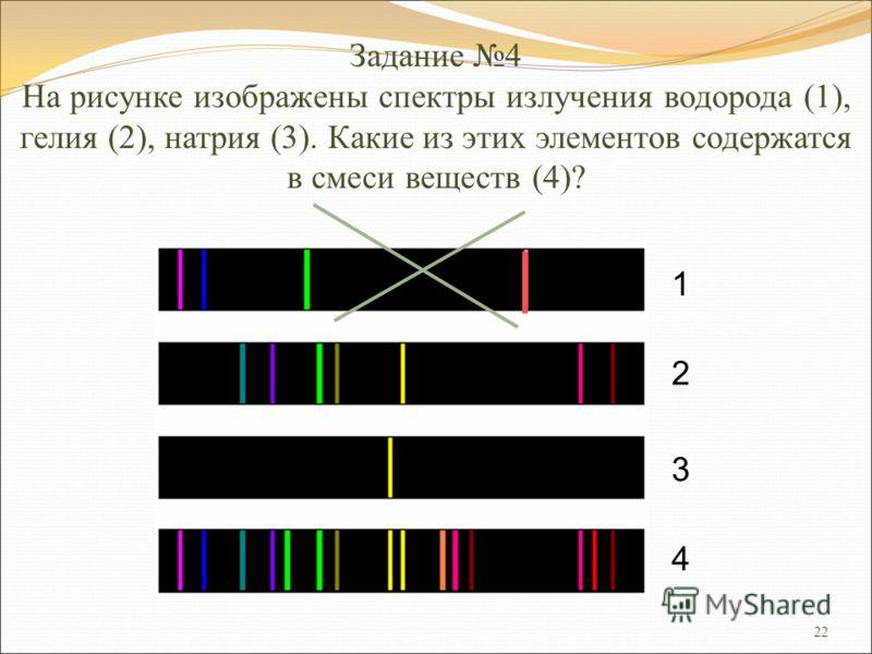 22 Задание 4 На рисунке изображены спектры излучения водорода (1), гелия (2), натрия (3). Какие из этих элементов содержатся в смеси веществ (4)? 1 2 3 4