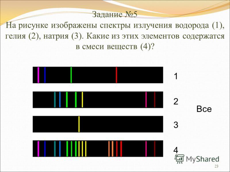 23 Задание 5 На рисунке изображены спектры излучения водорода (1), гелия (2), натрия (3). Какие из этих элементов содержатся в смеси веществ (4)? 1 2 3 4 Все