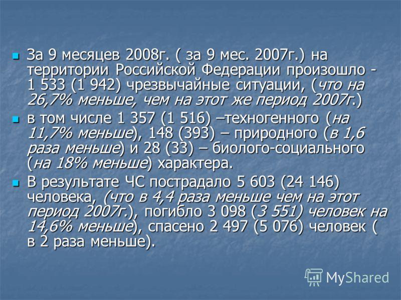 За 9 месяцев 2008г. ( за 9 мес. 2007г.) на территории Российской Федерации произошло - 1 533 (1 942) чрезвычайные ситуации, (что на 26,7% меньше, чем на этот же период 2007г.) За 9 месяцев 2008г. ( за 9 мес. 2007г.) на территории Российской Федерации