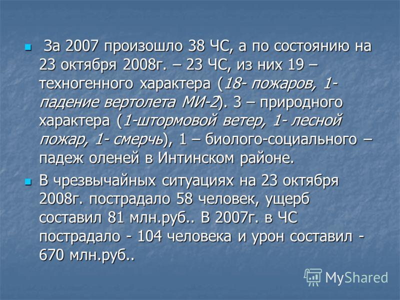За 2007 произошло 38 ЧС, а по состоянию на 23 октября 2008г. – 23 ЧС, из них 19 – техногенного характера (18- пожаров, 1- падение вертолета МИ-2). 3 – природного характера (1-штормовой ветер, 1- лесной пожар, 1- смерчь), 1 – биолого-социального – пад