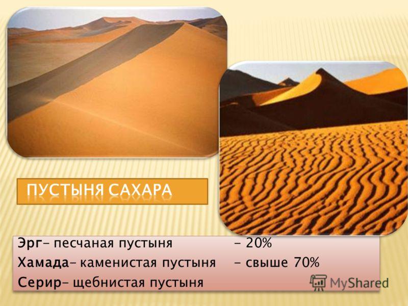 Эрг- песчаная пустыня - 20% Хамада- каменистая пустыня - свыше 70% Серир- щебнистая пустыня Эрг- песчаная пустыня - 20% Хамада- каменистая пустыня - свыше 70% Серир- щебнистая пустыня