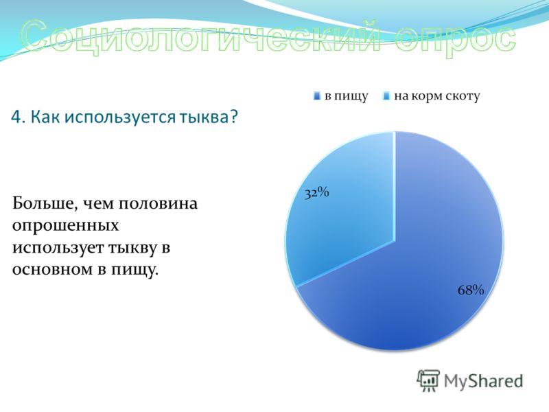 4. Как используется тыква? Больше, чем половина опрошенных использует тыкву в основном в пищу.