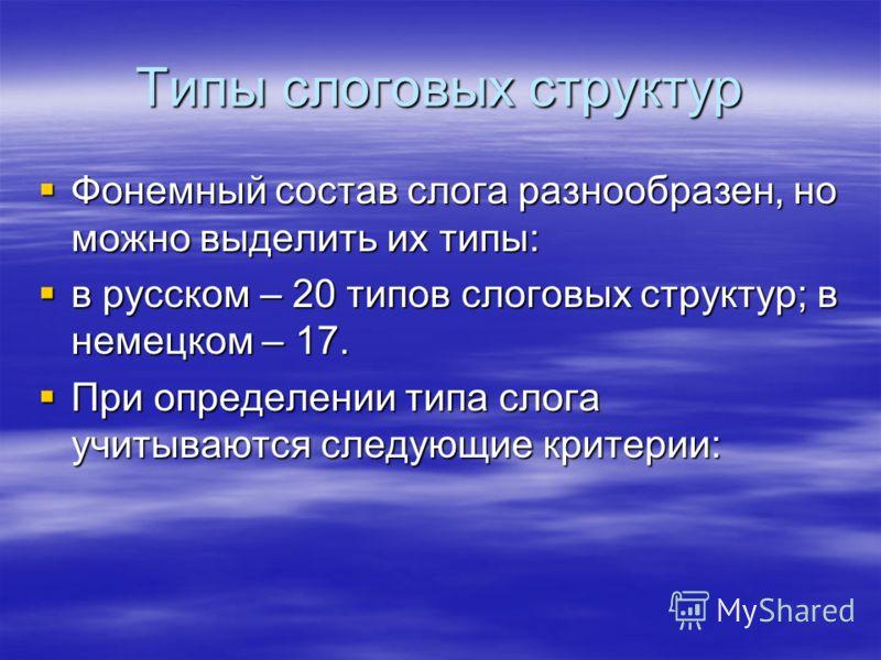 Типы слоговых структур Фонемный состав слога разнообразен, но можно выделить их типы: Фонемный состав слога разнообразен, но можно выделить их типы: в русском – 20 типов слоговых структур; в немецком – 17. в русском – 20 типов слоговых структур; в не