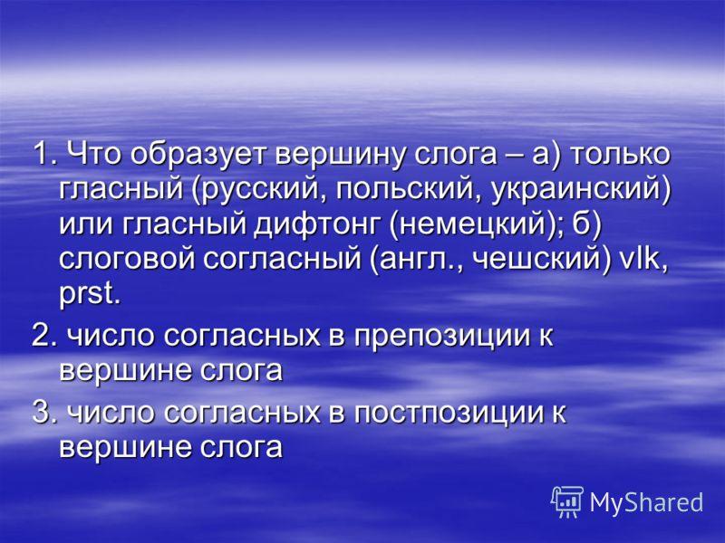 1. Что образует вершину слога – а) только гласный (русский, польский, украинский) или гласный дифтонг (немецкий); б) слоговой согласный (англ., чешский) vlk, prst. 2. число согласных в препозиции к вершине слога 3. число согласных в постпозиции к вер