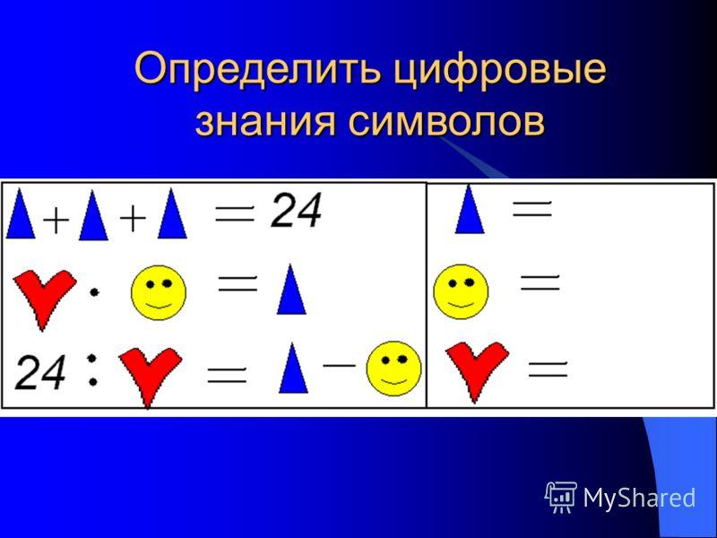 Определить цифровые знания символов