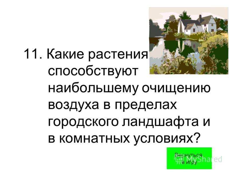 11. Какие растения способствуют наибольшему очищению воздуха в пределах городского ландшафта и в комнатных условиях? Вернуться в игру