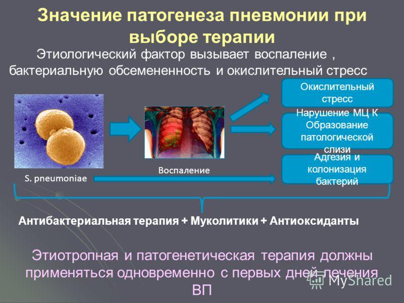 Значение патогенеза пневмонии при выборе терапии Этиотропная и патогенетическая терапия должны применяться одновременно с первых дней лечения ВП Нарушение МЦ К Образование патологической слизи Окислительный стресс S. pneumoniae Воспаление Адгезия и к