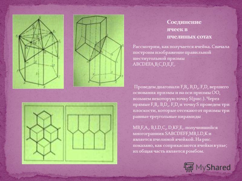 Рассмотрим, как получается ячейка. Сначала построим изображение правильной шестиугольной призмы ABCDEFA 1 B 1 C 1 D 1 E 1 F 1. Проведем диагонали F 1 B 1, B 1 D 1, F 1 D 1 верхнего основания призмы и на оси призмы ОО 1 возьмем некоторую точку S(рис.)
