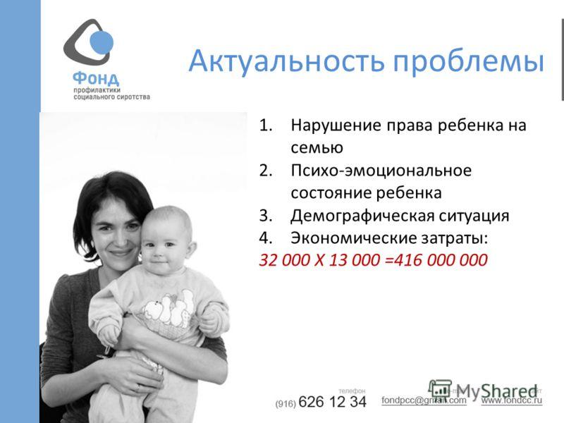 Актуальность проблемы 1.Нарушение права ребенка на семью 2.Психо-эмоциональное состояние ребенка 3.Демографическая ситуация 4.Экономические затраты: 32 000 Х 13 000 =416 000 000
