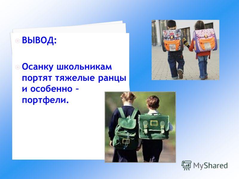 ВЫВОД: Осанку школьникам портят тяжелые ранцы и особенно – портфели.