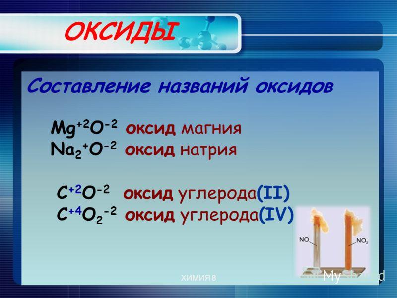 ОКСИДЫ Составление названий оксидов Мg +2 О -2 оксид магния Na 2 + O -2 оксид натрия С +2 О -2 оксид углерода(II) С +4 О 2 -2 оксид углерода(IV) ХИМИЯ 8